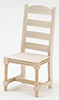 Dollhouse Miniature Ladder Back Side Chair, Unfinished