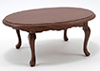 Dollhouse Miniature Oval Table, Walnut