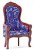 Victorian Gentleman's Chair, Mahogany with Blue Floral Fabric
