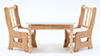 Dollhouse Miniature Table With 2 Chairs, Oak and White