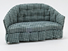 Dollhouse Miniature Sofa, Green Check