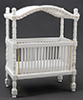 Dollhouse Miniature Canopy Crib, White