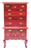Dollhouse Miniature Highboy, Mahogany