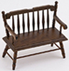 Dollhouse Miniature Deacon Bench, Walnut
