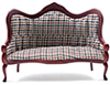 Dollhouse Miniature Victorian Sofa, Mahogany, Plaid Fabric