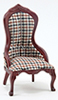 Dollhouse Miniature Victorian Lady's Chair, Mahogany, Plaid Fabric