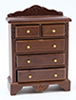 Dollhouse Miniature Chest Of Drawers, Walnut