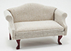 Dollhouse Miniature Sofa, Mahogany with White Fabric