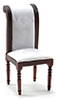 Dollhouse Miniature Side Chair, Walnut with White Fabric
