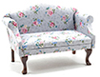 Sofa, Walnut with Gray Floral Fabric