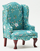 Chair, Mahogany with Turquoise Fabric
