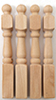 Dollhouse Miniature Newel Posts, 4/Pk