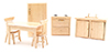 Dollhouse Miniature Kitchen Set, 6 pc, Oak