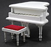 Dollhouse Miniature Baby Grand Piano with Stool, White