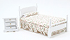 Dollhouse Miniature Bed & Night Stand, White