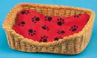 Dollhouse Miniature Dog Bed, Rectangular, Red