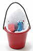Dollhouse Miniature Soap Bucket W/Scrub Brush, Cleaner & Sponge