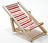 Beach Chair, Red/White/Pink Fabric, Natural Wood