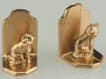 Dollhouse Miniature Bookends, Cat, Gold Color