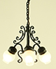 Dollhouse Miniature Chandelier, 3-Lt Frosted Globe