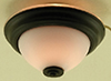 Dollhouse Miniature Ceiling Light, Flush Mount, Frosted With Black