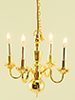 Dollhouse Miniature 4-Arm Chandelier with Bi-Pin Bulbs 12 V.