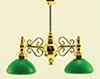 Dollhouse Miniature Billiard Chandelier with Green Shade 12V