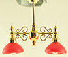 Dollhouse Miniature Billiard Chandelier with Red Shade 12V