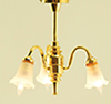 Dollhouse Miniature Chandelier, 3-Light, Frost Tulip