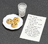 Dollhouse Miniature Note To Santa with  Milk and Cookies