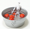 Dollhouse Miniature Halloween Skeleton in Tub of Apples