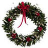 Dollhouse Miniature Red/White Christmas Wreath