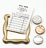 Dollhouse Miniature Tray with Receipt and Coins