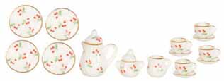 Dollhouse Miniature 15 Pc Dinner Set- Gold/Cherry